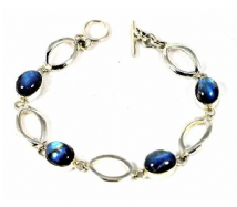 Rainbow Moonstone Bracelet Silver Ellipse links Oval stones